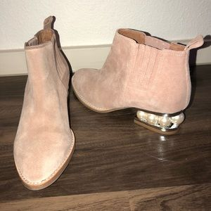 Jeffery Campbell Metcalf pink suede ankle boots 6